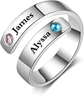 Personalized Spiral Twist Ring Engraved Names BFF Wrap Rings with 2 Simulated Birthstones for Women Best Friends Promise Rings for Her