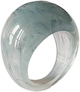 Retro Resin Colorful Wide Thick Dome Finger Rings Acrylic Transparent Vintage Knuckle Rings Handmade Jewelry