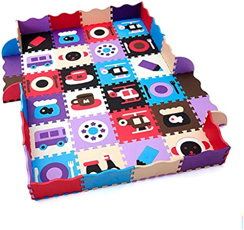 LFY Kinder Puzzle Spielmatte mit Zaun, groe Multi-Farbe-Muster Kombination Schaumstoff Krabbelmatten (Größe   36 Piece+24 Fence)