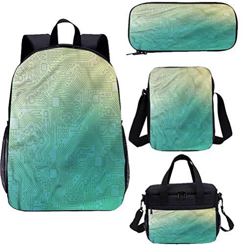 Abstracto Mochila de 15 pulgadas con bolsa de almuerzo,Conjunto de estuche,Tech Vector Pattern 4 en 1 Conjuntos de mochila
