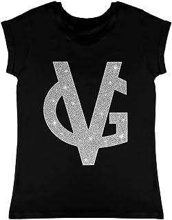 VALENTINA GIORGI - VG - Miss VG T- Shirt da Donna Nera con Logo VG in Tessuto Glitter Sale e Pepe, Scollo Tondo, Taglia L ...