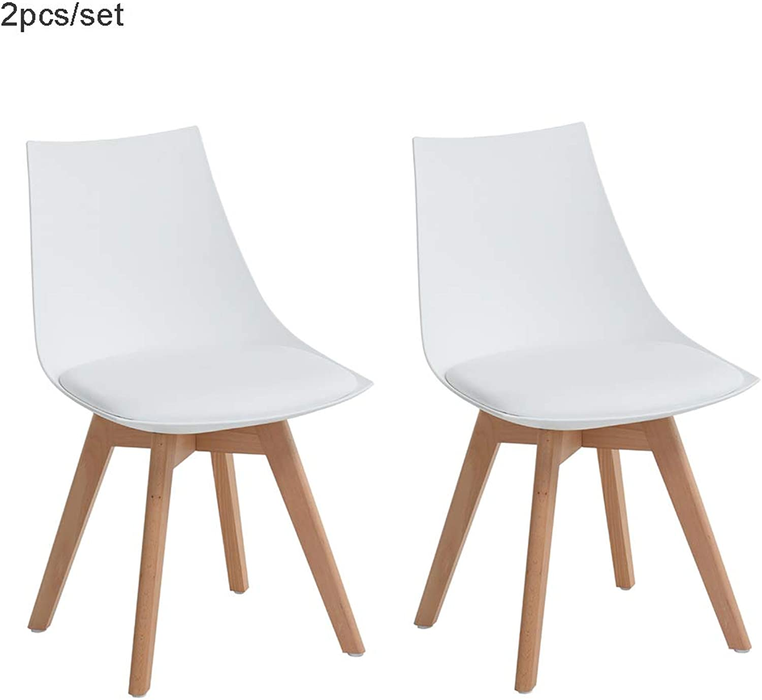 FurnitureR Dining Chairs Set of 2 Modern Style White Upholstered Chairs for Kitchen Dining Living Room Side Chairs
