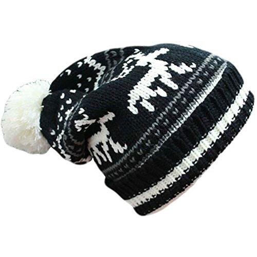 KGM Accessories Joli bonnet avec motif de renne de Noël (blanc noir)