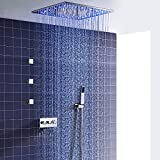 Juego de ducha ESIP, sistema de ducha termostático LED multifuncional, 500x500mm, con modo lluvia, chorro de hidroterapia, teleducha, chorro lateral de 2 pulgadas, acero inoxidable 304,