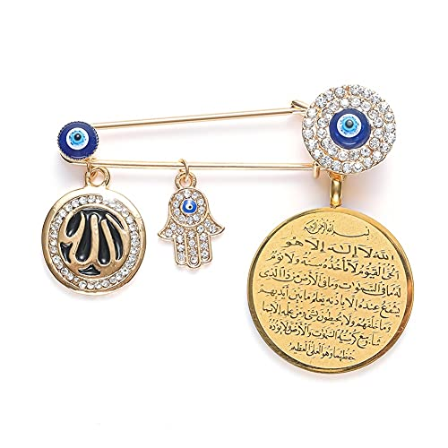 XiaoG Muslim Islam Allah Turkish Evil Eye Hand of Fatima Pendant Metal Brooch Baby Pins (Color : 10277-Gold)