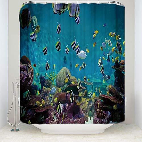 YULIANGE Ozeanblau Wasserdicht Bad Duschvorhang Rostfrei Bad Vorhang Hauptdekoration Produkt Badezimmer-150 * 200Cm