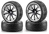 Carson 500900080 - 1:10 Big Wheel-Set 02, 10 Speichen, Modellbauzubehör, 4 Stück, schwarz/chrom