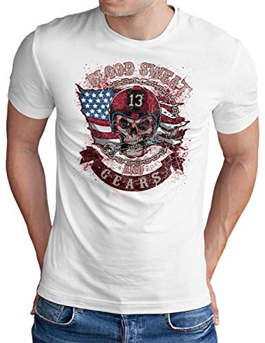 OM3® Blood-Sweat-and-Gears T-Shirt | Herren | Motorcycle Skull Garage Tuning | Weiß, XL