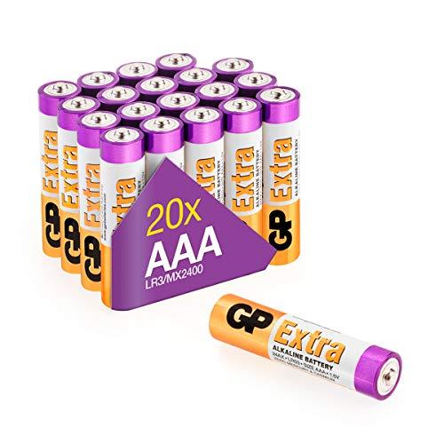 GP Extra Alkaline Batterien AAA Longlife (1,5V) 20 Stück Micro Batterien LR03 Vorratspack, ideal für die Stromversorgung von Geräten des täglichen Bedarfs (Briefkasten-geeignete Verpackung)