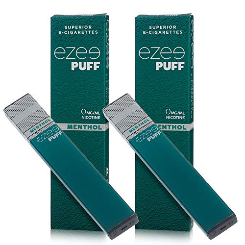 Ezee Puff Einweg E-Zigarette Menthol Geschmack E-Liquid Nikotinfrei Elektronische Zigarette 280mAh Akku E-Shisha 2 Stück