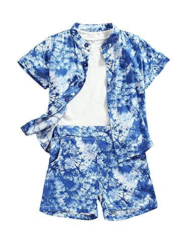 Enfant en Bas âge bébé garçon fille Tie-Dye à Manches Courtes hauts boutonnés t-Shirt Taille élastique Shorts été 3 pièces Tenues (Blue, 12-18 Months)