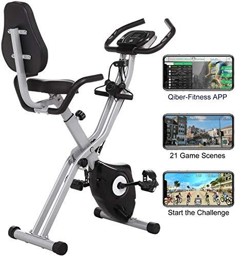 ANCHEER Fitness Bike mit APP, 3in1 Faltbarer Heimtrainer mit Rückenlehne & integriertem Seilsystem,10-stufiger Magnetwiderstand Fitnessfahrrad Trainingsgerät klappbar X-Bike mit Seitenhalterung