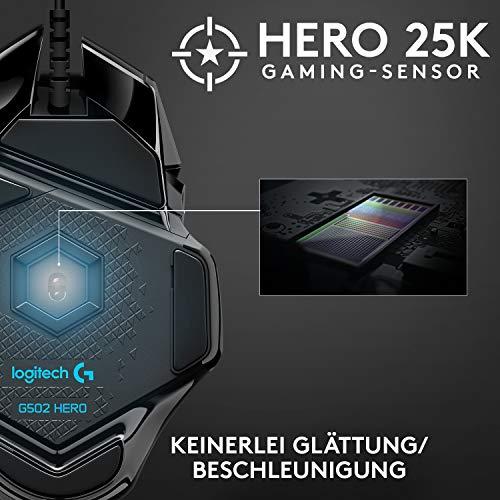 Logitech G502 HERO High-Performance Gaming-Maus mit HERO 25K DPI optischem Sensor, RGB-Beleuchtung, Gewichtstuning, 11 programmierbare Tasten, anpassbare Spielprofile, PC/Mac, Schwarz - 3