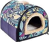 N/D Dololoo - Cama para gatos o gatos, iglú, nido de cueva de gato para gatos o gatos autocalentables 2 en 1 para casa cueva plegable (35 x 30 x 28 cm, hojas azules)