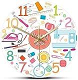 Kit de Costura Conjunto de Iconos de Herramientas de Trabajo impresión de acrílico Reloj de Pared Tejido de Coser máquina de Coser Reloj de Pared sastrería decoración 30x30cm