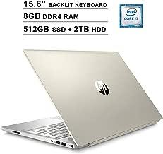 HP Pavilion 15.6 Inch FHD 1080P Touchscreen Laptop - Intel 4-Core i7-8550U up to 4.0 GHz, Intel UHD 620, 8GB DDR4 RAM, 512GB SSD (Boot) + 2TB HDD, Backlit KB, HDMI, Bluetooth, WiFi, Windows 10, Gold