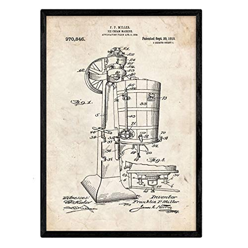 Nacnic Stampa Artistica Vintage, con Brevetto Macchina per Fare Il Gelato. Progetto. Manifesti con invenzioni e Vecchi brevetti. Disegno di Alta qualità, Sfondo Vintage.