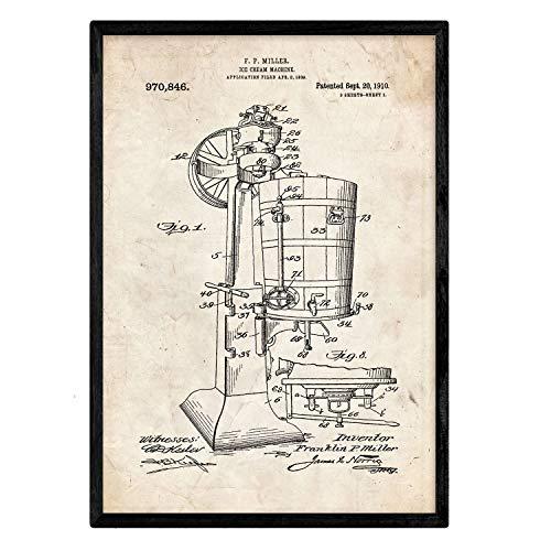 Nacnic Poster con patente de Maquina de helados. Lámina con diseño de patente antigua en tamaño A3 y con fondo vintage