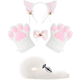 All White Cat Fox Cosplay Costume Kitten Plush Tail Ears Headband Collar Paws Lolita Anime Gothic Set