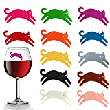 Wine Glass Charms Wine Glass Markers Cat Charms Silicone Drink Cup Bottle Label Mugs Tag Magnetic Wine Drink Markers and Tags for Party, Wedding, Tasting Events, Cocktails, Martinis, Champagne 12Pcs