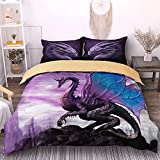 Flying Dragon Duvet Cover Set 2 Pieces Microfiber Purple Comforter Cover Set with 1 Pillowcases Quilt Cover Bedding Set with Zipper Closure&Corner Ties Twin Size 68'x 86' (no Comforter)