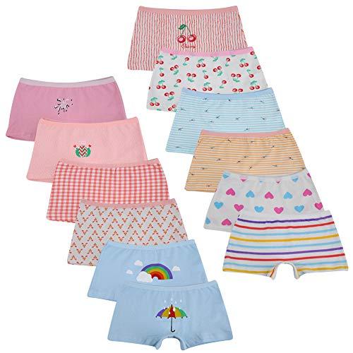 Kidear Bragas Cortas de algodón para niñas pequeñas de la Serie para niños Ropa Interior variada para bebés (Paquete de 12) (10-12 años, Estilo3)