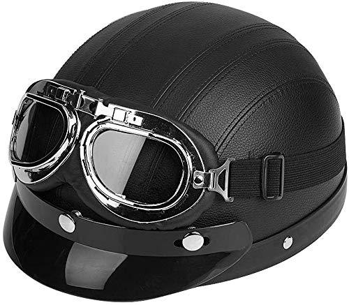 Helmets Integralhelm, Motorrad Roller Sturz Helm Motorradhelm Integralhelm Rollerhelm Fullface Helm Open Face Halbhelm und Visier UV-Brille Schwarz