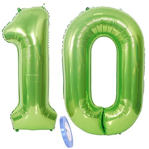 2 globos numeros 10 años, Number globo número 10 verde para niñas...