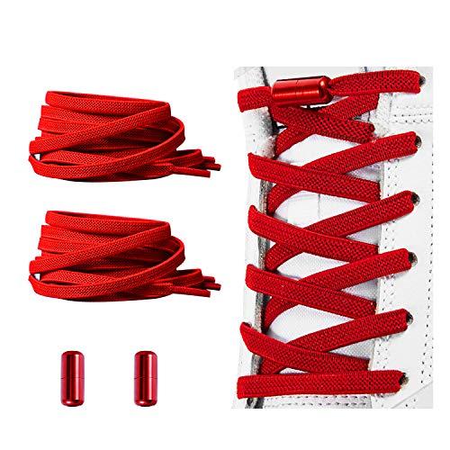 No Tie Shoelaces , Elastic Shoelaces for Adults/Kids,Elastic No Tie Shoe Laces Red