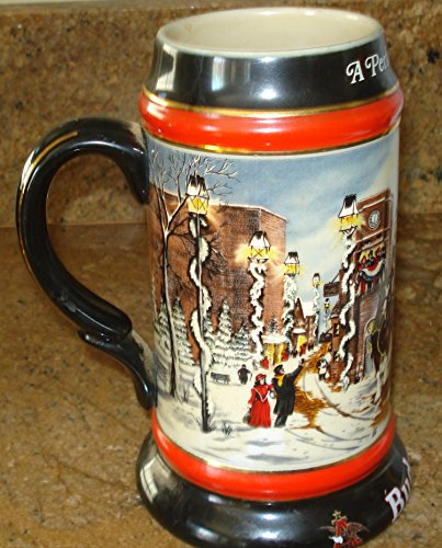 1992 BUDWEISER A PERFECT CHRISTMAS HOLIDAY STEIN - 7 INCHES
