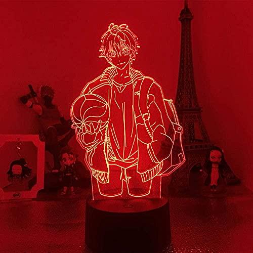 Lámpara de ilusión 3D luz de noche LED Anime Haikyuu Satori Figura Figura Creativa Lámpara de mesa de iluminación Adecuado para mesa de dormitorio Decoración de regalo de cumpleaños para...