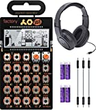 Teenage Engineering PO-16 Pocket Operator Factory Lead and Chord Synthesizer Bundle with Samson SR350 Over-Ear Closed-Back Headphones, Blucoil 3-Pack of 7' Audio Aux Cables, and 4 AAA Batteries