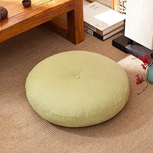 YLCJ Cojines de Asiento de futón Redondos Gruesos de Lino, cojín de Asiento de meditación en el Suelo, sillas de Oficina Cojín Elevador reclinable-E 50x15cm (20x6 Pulgadas)
