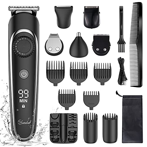 Hatteker Beard Trimmer Hair Clipper Hair Trimmer Grooming Kits Electric Shaver Razor for Men Mustache Nose Ear Body Precision Trimmer Groomer Multigroom IPX7 Waterproof Cordless Rechargeable 6 in 1