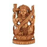CraftVatika Wooden Sarasvati Statue Indian Lady Statue Goddess of Knowledge, Music & Art - Vina Sitting on Swan Maa Saraswati