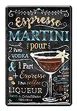Blechschild Zutaten Rezept Espresso Martini - Retro Deko
