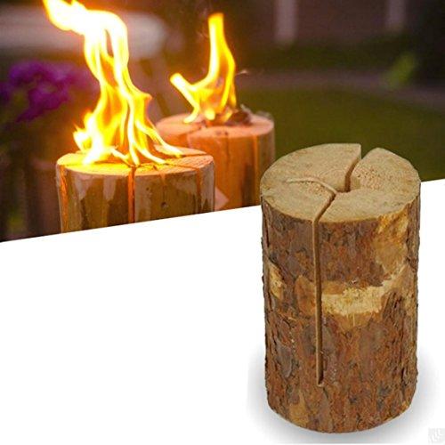 e2e Real Wood Partido Pequeno jardin de la luz de la Vela de la antorcha Fuego de lena (Juego de 2)