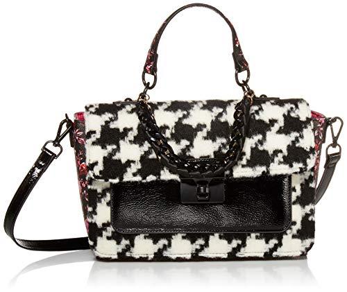 Betsey Johnson Hounds Town Tasche mit Griff, Schwarz/Weiß