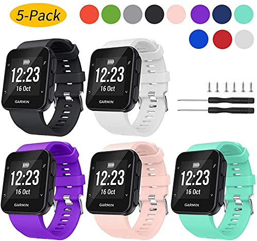 Shieranlee Compatible con Forerunner 35,Suave Silicona de Ajustable Deportiva Pulsera de Reemplazo Compatible para Garmin Forerunner 35 Smart Watch, Fit 5.11-9.05 Inch (130mm-230mm) Wrist
