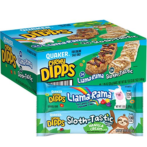 Quaker Chewy Dipps Granola Bars Variety Pack, Llama Rama Sloth Tastic, 48 Count