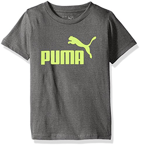 PUMA Big Boys' Logo T-Shirt, Charcoal Heather, Large (14/16)