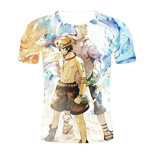 T-Shirts Camiseta para Hombre,Camiseta de una Pieza Camiseta Volando Anime Segundo Dólar 3D Color Completo Mangas de Manga Corta Tide-XT459_L