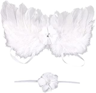 DZT1968 Baby Girl Flower Headband with Angel Feather Wing Photo Prop Costume