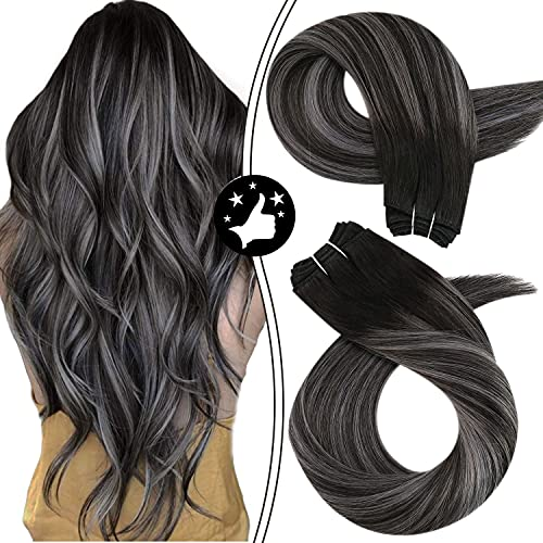 Moresoo Hair Bundles Weft Sew in Hair Extensions Human Hair Balayage Color #1B Off Black Ombre to Silver Mixed with Black Brazilian Hair Weft 18 Inch Real Hair Extensions 100 Gram