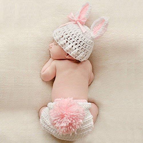 DANDANdianzi Ropa de bebé Ganchillo Lindo bebé recién Nacido Accesorios de Fotos Trajes Traje del bebé del Ganchillo bebé Hechos Punto fotografía Atrezzo Conejo Flor de la niña Trajes Set