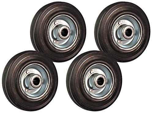 Juego de 4 ruedas de repuesto de goma, 125 mm, para ruedas giratorias, 100 kg, con llanta de acero