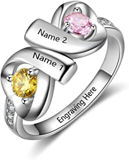 Infinity Personalized Promise Rings for Women Engraved Names Mothers Rings with 2 Simulated Birthstones