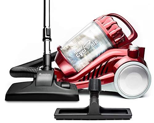 Turbotronic/Staubsauger ohne Beutel/rot, schwarz/Bodenstaubsauger beutellos, 2 Filtersets, hohe Saugkraft 22kPa
