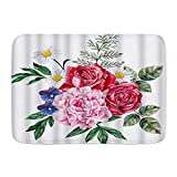 LKCDNG Alfombra de baño Alfombra Antideslizante,Floral Peonía Rosas Violetas Cham Pintado Jardín Flo...