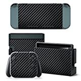 Mcbazel Pattern Series Vinyl Skin Sticker For NS Switch Controller & Console Protect Cover Decal Skin (Black Carbon Fiber)